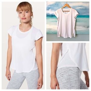 Lululemon Just Pleat It Tee White Cap Sleeve